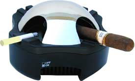 Works similar to Holmes smokeless ashtray and Pollenex smokeless ashtrays