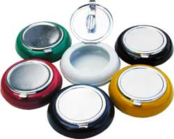 Six flip top colorful steel pocket ashtrays